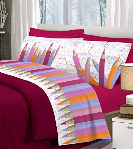 homelife set lenzuola letto singolo cotone matite colorate, made in italy   completo letto 1 piazza + federe tono rosso   lenzuolo sopra 160x300 + sotto con angoli 90x200 + federa 52x82 - rosa, 1p