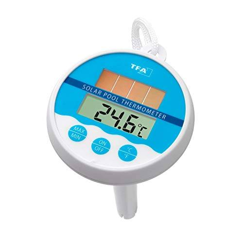 TFA Dostmann Termometro Digitale Solare Piscina, Bianco