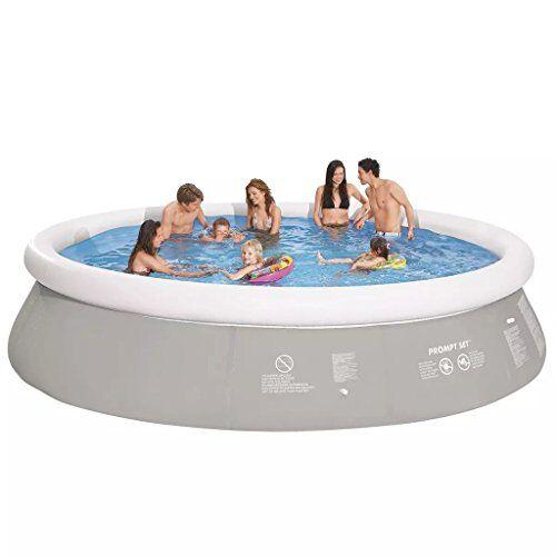 jilong piscina da giardino fuori terra gonfiabile rotonda 450 x 122 cm grigia