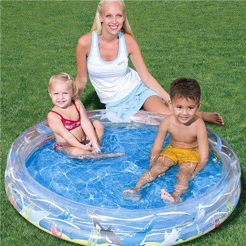 peterkin piscina gonfiabile per bambini da mare o giardino 2 anelli cm122*20 fondo marino