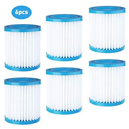 VXDAS 6 cartucce filtro per piscina, 3,1 x 3,5 pollici Bestway Dimensione I per il filtro della piscina, facile set di cartucce di ricambio per la pulizia della piscina.