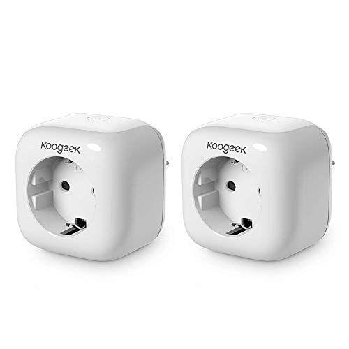 Koogeek presa intelligente Wi Fi attivato Smart Plug Compatibile con Apple HomeKit, Google Assistant e Alexa, controllo remoto, controllo vocale, per Android e iOS 2 pieces