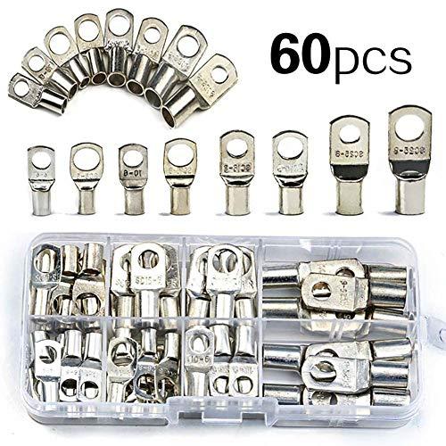 parkomm - set di 60 capicorda ad anello, morsetti di collegamento, set di morsetti per per batterie per auto tipo sc