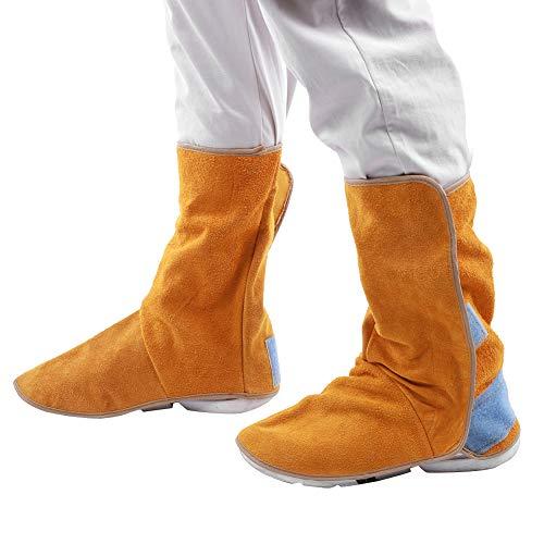 sonew protezione per scarpe in pelle di vacchetta resistente, ghette per saldatura resistenti al calore, copri piedi per scarpe protettive da lavoro per saldatore, copri stivali di sicurezza per saldatura