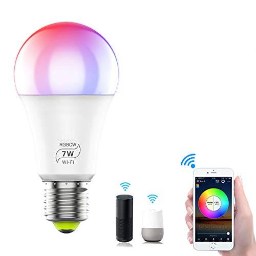 haikingmoon wifi smart led light bulbs,haikingmoon e27 rgb dimmable colour changing lampadine smart voice control work with amazon alexa and google home [no hub required] (7w = 60w, 810lm) 1 pcs
