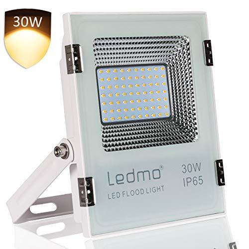 LEDMO Faro Led esterno 30W bianco caldo 2700k impermeabile IP65 super luminosità SMD2835 AC200-240V 3000lm faretti led esterno per giardino, recinzione, patio percorso e altri Aree scure