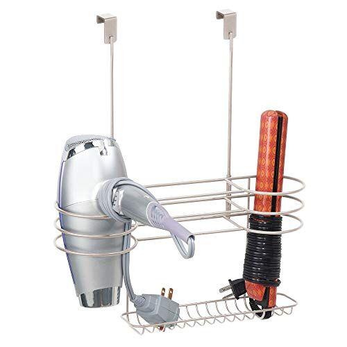 mdesign porta asciugacapelli con 3 scomparti e un vassoio - porta oggetti bagno per asciugacapelli e piastre - contenitore per accessori bagno da appendere alle porte - argento opaco