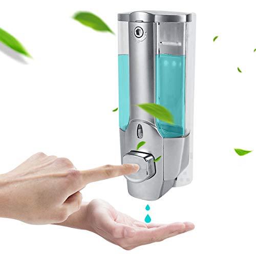 eurobuy dispenser di sapone da parete, 350ml cucina bagno dispenser di sapone liquido fissato al muro bagno dispenser di disinfettante per mani doccia gel shampoo contenitori (color : silver)