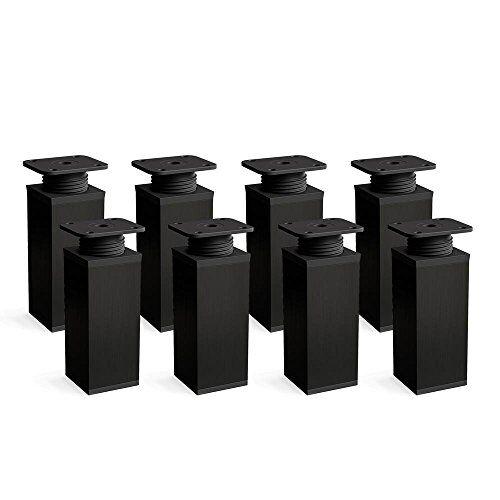 Sossai Gambe per mobili, set di 8, regolabili in altezza   Forma angolare: 40 x 40 mm   Sossai MFV1-BL   Design: Nero   Altezza: 60mm (+20mm)   Viti inclusi