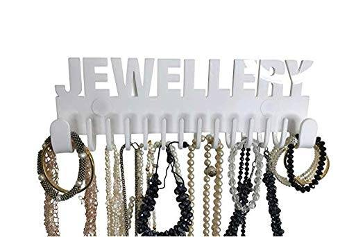 Galeara design Espositore Porta collane Braccialetti organizzatore portagioielli Muro Orrechini (Bianco - Jewellery)