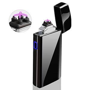 AngLink Accendino Elettrico, Accendino Dual Arco Elettronico Ricaricabile Tramite USB, Antivento Senza Combustione Lunga Durata per Candele Sigarette Cucina Grill