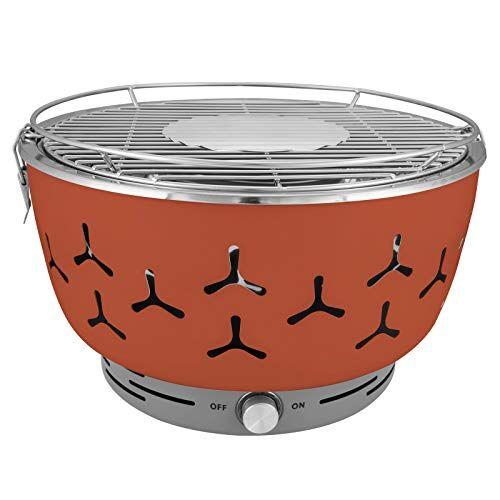 woltu cpz8117or barbecue a carbone griglia da tavolo con ventilatore senza fumo bbq in acciaio inox arancio