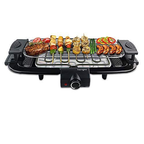 hengbo barbecue elettrico grill, senza fumo antiaderente grill con vassoio raccogli olio per 6 persone 2000w
