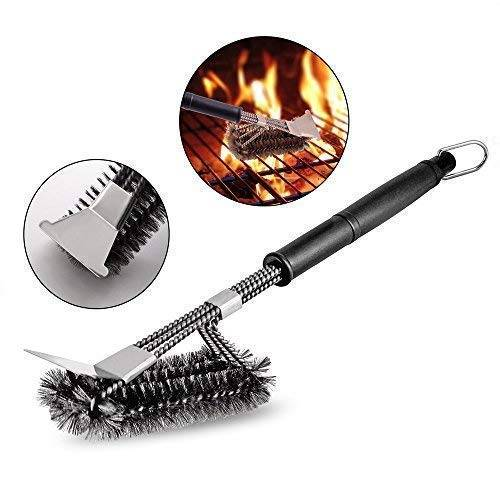 GS-Directly Spazzola Barbecue, BBQ Pennelli con Raschietto, 18 Griglia Esterna Spazzola di Pulizia Spazzole Barbecue Cleaner Professionale BBQ Brush Grill