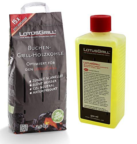 Lotus Grill Carbone di faggio, Sacco da 2,5 kg, con Pasta combustibile LotusGrill, 500 ml, Entrambi sviluppati per Grigliare Senza Fumo con Il Barbecue LotusGrill