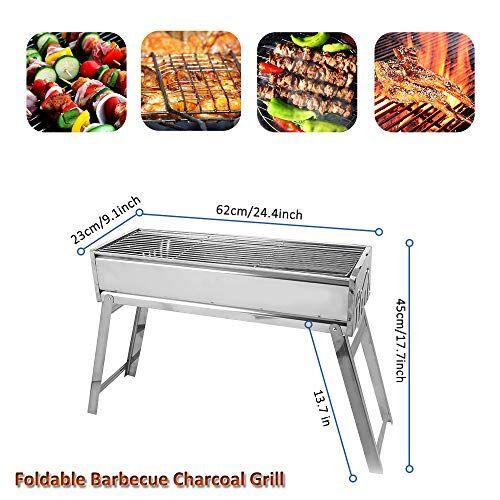 cerchio barbecue carbone portatile barbecue pieghevole griglia acciaio inox per 6-10 persone bbq grill per picnic campeggio(60x24x45cm)