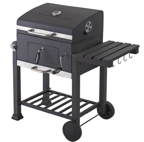 tepro - barbecue toronto a carbonella a legna, antracite/acciaio inox