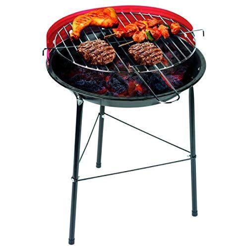 bakaji barbecue a carbone carbonella bbq grill in metallo con paravento griglia rotonda diametro 33 cm