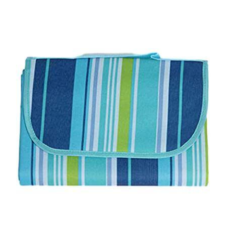 jzzy coperta da picnic pieghevole portatile a prova di sabbia, adatto per picnic all'aperto in campeggio sulla spiaggia-strisce blu_l