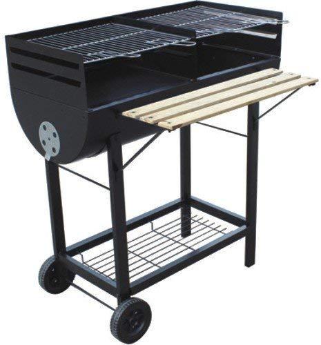papillon 8130210 - barbecue a legna rettangolare wichita con ruote, 98x55x93h cm