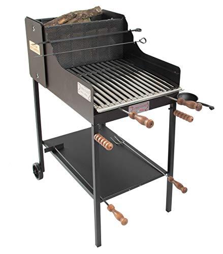 cruccolini fuocone inox barbecue a legna e carbone, nero, 50x80x110 cm