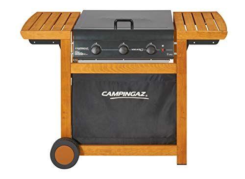 campingaz barbecue gas adelaide 3 woody, grill barbecue a gas a 3 bruciatore, potenza di 14 kw, griglie in acciaio, 2 tavoli a lato, chiaro