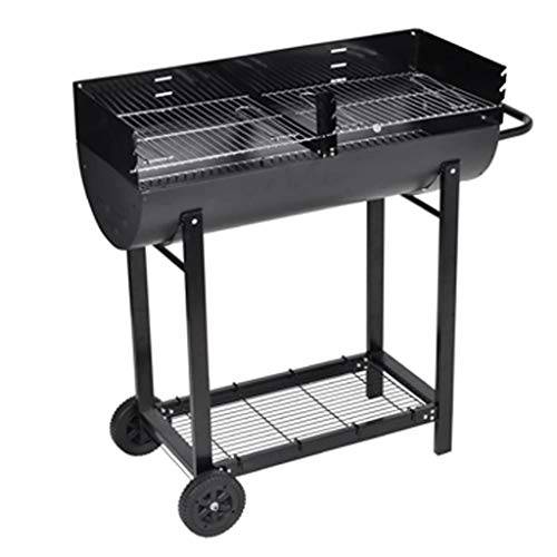vidaxl barbecue griglia a carbone, carbonella e legna, 2 griglie in acciaio,bbq 2 ruote