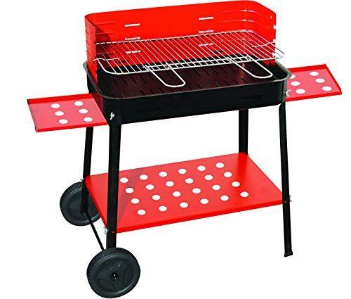 webmarketpoint barbecue a legna o carbone in acciaio con ruote 50x35 cm