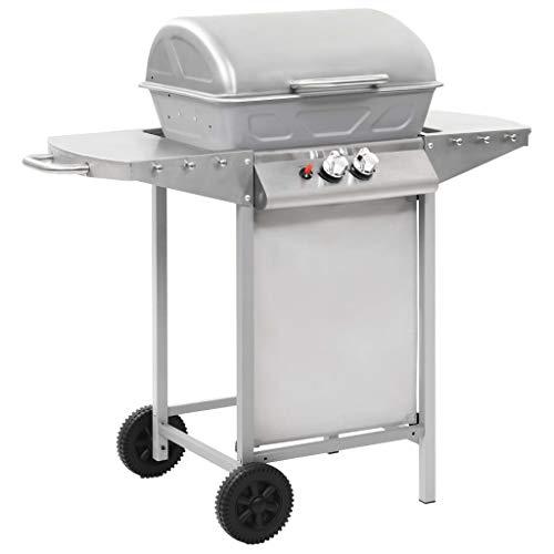 vidaxl barbecue a gas con griglia 2 fornelli argento acciaio inox bistecchiera