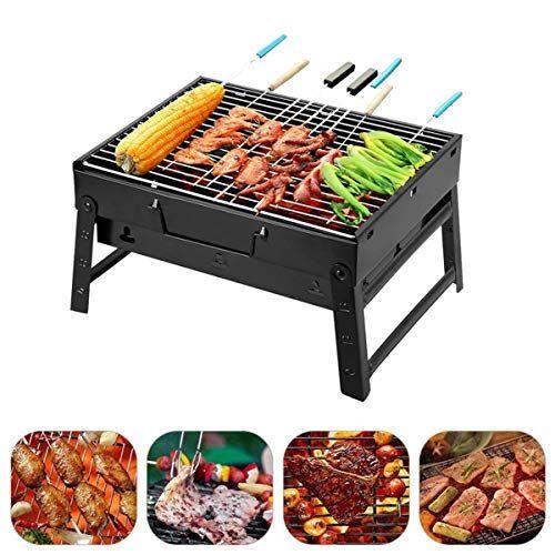 qdreclod barbecue carbone portatile griglia barbecue pieghevole acciaio inossidabile bbq griglia, 35 * 27 * 20cm, perfetto per 3-5 persone campeggio picnic terrazza all'aperto raduno festa in giardino
