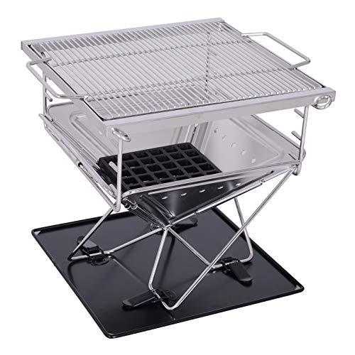 outsunny barbecue bbq griglia a carbonella e legna 6 persone acciaio inossidabile 41 x 34,5 x 36 cm argento e nero