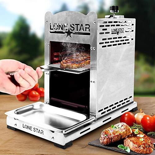 bakaji barbecue a gas in acciaio inox temperatura elevata fino a 850c per bistecche da professionista con bruciatore regolabile 5 livelli di cottura e accessori bull beef burner lonestar