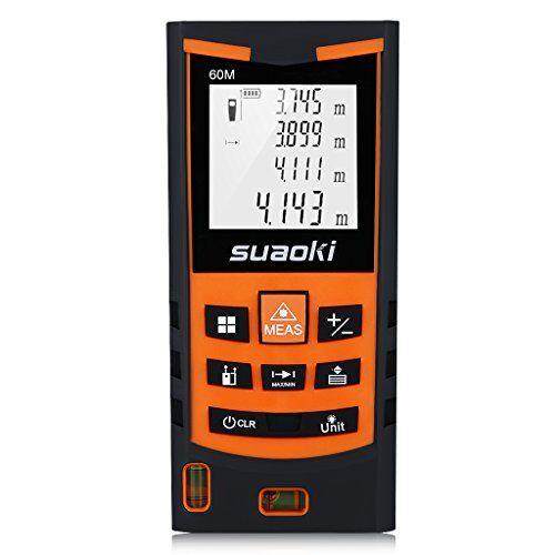 Suaoki S9 60M Misuratore Laser Metro Laser Professionale in M/In/Ft con 2 Livelli a Bolla, 4 Modalità di Misurazione e Display Retroilluminato, Precisione 1,5mm, Batteria e Custodia