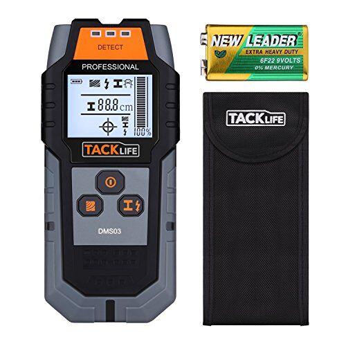 TACKLIFE Rilevatore di Metallo e Cavi Elettrici TACKLIFE DMS03 Scanner Digitale Portabile Multifunzioni Scan di Legna, Cavi Elettrici e Metallo Magnetico/non Magnetico, LCD Controluce con Custodia