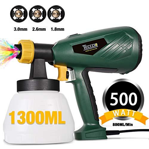 TECCPO Pistola a Spruzzo, TECCPO 500W HVLP Spruzzatore Elettrica, 800 ml/min, 3 ugelli in rame (1,8 mm/2,6 mm/3,0 mm), 1300 ml con 3 Modalità di Pittura, un buon aiuto per decorare - TAPS02P