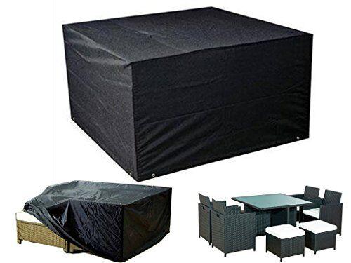 fineway, cubo in rattan per coprire i mobili da giardino, protezione anti pioggia, resistente, impermeabile, misura 120cm x 120cm x 74cm