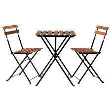 Ikea Tavolo+2 Sedie, Outdoor TRN Nero/Grigio-Marrone Mordente