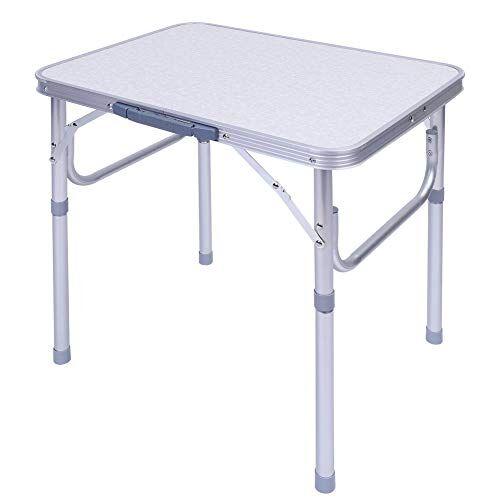 ausla tavolo da campeggio in alluminio, tavolo camper campeggio picnic, tavolo da campeggio picnic giardino pieghevole portatile altezza regolabile, 60,2 x 45 x 25-56cm