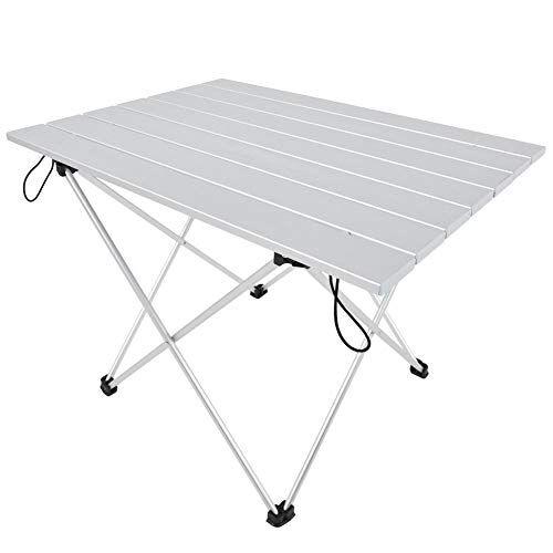 topincn tavolo da campeggio pieghevole in lega di alluminio banco da pesca per picnic da giardino per esterni con borsa per il trasporto(big)