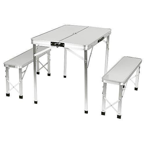 turefans tavolo campeggio con 2 panche richiudibile a valigetta giardino picnic alluminio, funzionale tavolo da pic nic