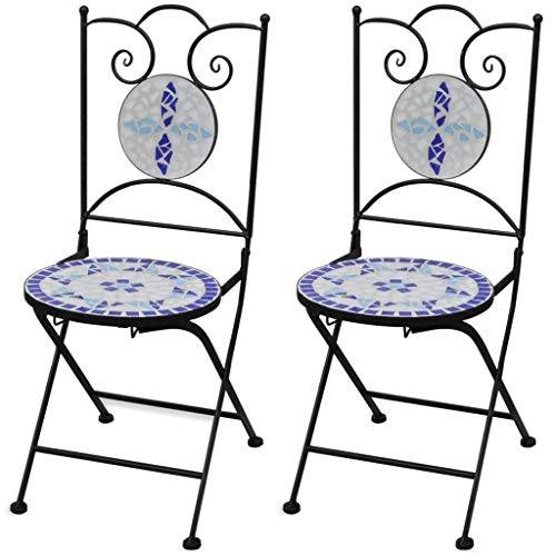 vidaXL Set 2 pz Sedia Bistro in Ferro da Giardino Esterno con Mosaico Blu/Bianco