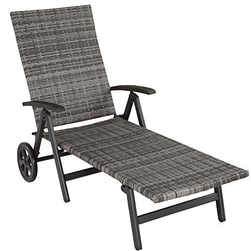 tectake 800722 sedia a sdraio con rotelle, rattan sintetico, regolato in 5 posizioni, giardino terrazza esterno, 186x73x68 cm -disponibile in diversi colori (grigio   no. 403219)