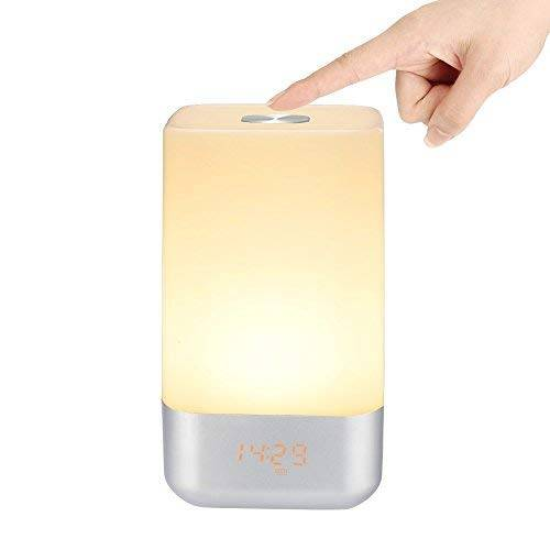 VADIV Wake Up Light Sveglia,VADIV WL01 Sensore Tattile Lampada Comodino LED Night Light con 5 Suoni Naturali, Simulazione Sunrise, Cambio Colore, 3 Luminosità,USB Ricaricabile per Camera Letto