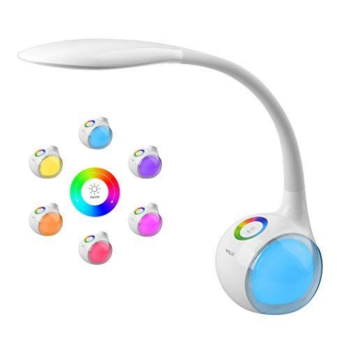 WILIT T3 Lampada da Scrivania LED, Luce Multicolore Regolabile RGB, 3 Livelli Dimmerabili, Lampada da Tavolo con a collo d'oca, Controllo Tattile, 5W, Bianca