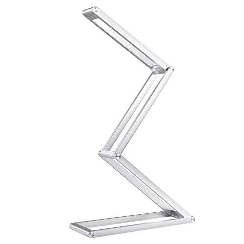 Aukey - Lampada a LED, flessibile, portatile, multiforme e ricaricabile, con batteria integrata e cavo USB, in alluminio, 2 livelli di luminosità, 3 W, per tavolo/lettura, colore: Argento