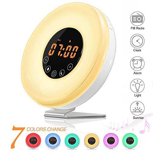 SOLMORE Wake-Up Light, SOLMORE Sveglia Luce Wake up Light Lampada da Comodino con 7 Colori e Touch Control, Luce Notturna con Simulazione Alba Funzione Snooze, Luce Notturna per Bambini Ricaricabile con USB
