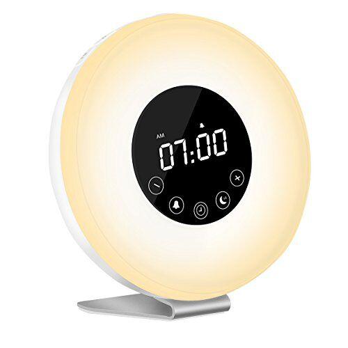 AUELEK Wake Up Light - Lampada Touch Lampada da Comodini Auelek, Sveglia Luce con Simulazione Alba, Luce Notturna con FM Radio, 6 Funzione Naturale Suono 7 Colori Light 10 Livelli di Luminosità