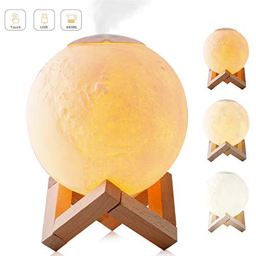 wishing umidificatore Ultrasuoni, 3D lunar lamp Diffusore di Aromi 880 ml Diffusore di Olio Essenziale 3 Colori LED Umidificatore per Aromaterapia Casa Bambini