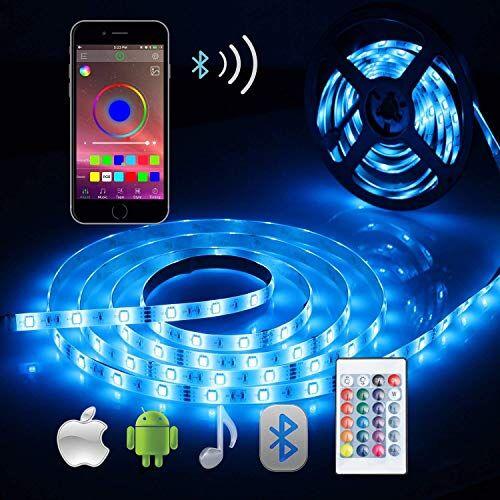 ALED LIGHT Striscia LED RGB 5M, ALED LIGHT LED Striscia Impermeabile 5050 Controllo Bluetooth Kit Completo con 24 Tasti Telecomando IR & Alimentatore Led Strip Illuminazione per Giardino, Bar, Festa, ecc