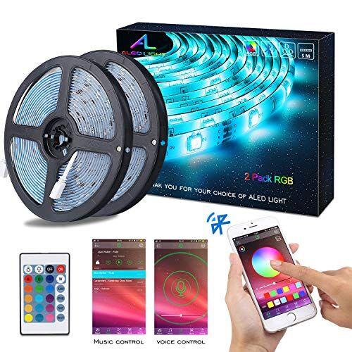ALED LIGHT Striscia LED RGB 10M Musica, ALED LIGHT LED Strip Bluetooth RGB Striscia, IP65 Impermeabile 12V Striscia, Bluetooth + 24 Tasti Telecomando, Nastri Led Smartphone Android e IOS Controllato da APP